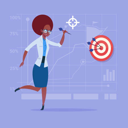 African American Business Woman Hold Arrow Hit Target Successful Goal Concept Flat Vector Illustration