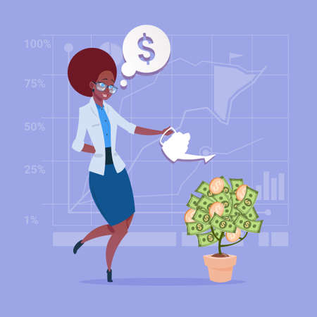 businessperson: African American Business Woman Watering Money Tree Finance Success Concept Flat Vector Illustration Illustration