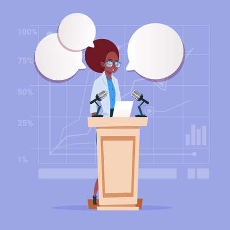African American Business Woman Speaker Candidate Public Speech Conference Meeting Business Seminar Flat Vector Illustration