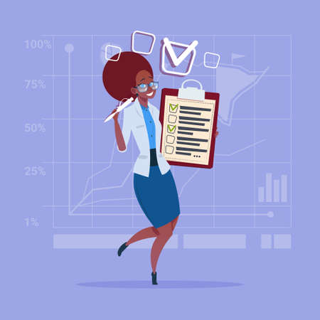 African American Business Woman Holding Check List Clipboard Flat Vector Illustration