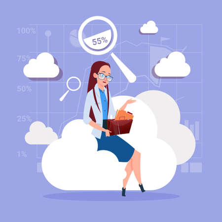 businessperson: Business Woman Sitting On Cloud Search Data In Database Storage Flat Vector Illustration