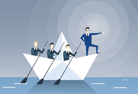 Businessman Leading Business People Team Swim In Boat Teamwork Leadership Concept Flat Vector Illustration