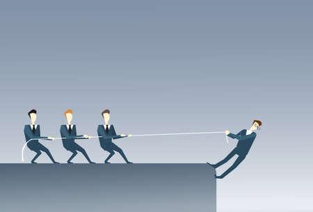 businessperson: Business People Holding Businessman Hanging Cliff Partner Support Businesspeople Risk Teamwork Concept Vector Illustration