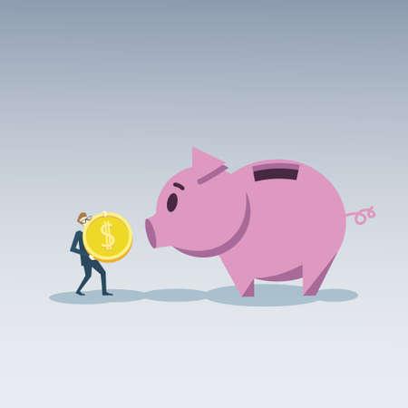businessperson: Business Man Put Coin Piggy Bank Money Investment Concept Flat Vector Illustration