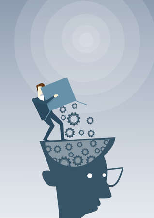 Businessman Putting Cog Wheels In Open Head Thinking Business Ideas Inspiration, Creative Process Concept Brainstorming Flat Vector Illustration