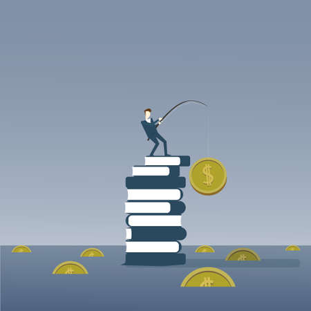 Business Man Standing On Books Stack Fishing Money Strategy Success Education Intelligence Concept Vector Illustration