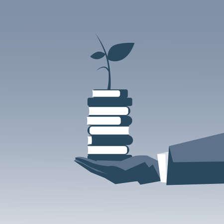 businessperson: Business Man Hand Holding Books Stack Top Education Intelligence Concept Vector Illustration Illustration