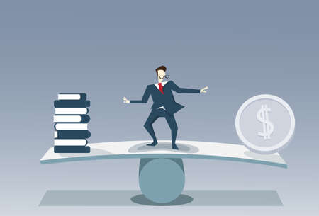 Businessman Balancing Between Books Stack And Money Coin Risk Business Stability Concept Vector Illustration Illustration