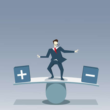 Businessman Balancing Between Plus And Minus Risk Business Stability Concept Vector Illustration