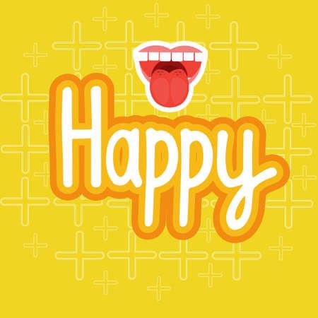Happy Sticker Social Media Network Message Badges Design Vector Illustration