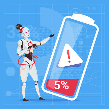 low energy: Modern Robot Female Tired With Low Battery Charge Futuristic Artificial Intelligence Technology Concept Flat Vector Illustration