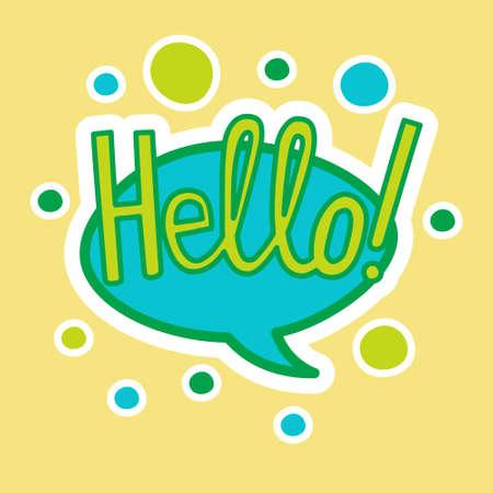 Hello Sticker Social Media Network Message Badges Design Vector Illustration