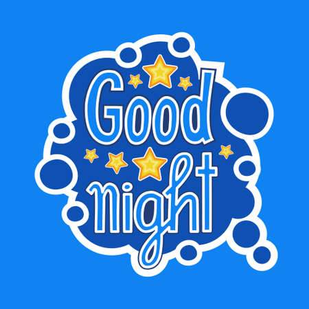 Good Night Sticker Social Media Network Message Badges Design Vector Illustration