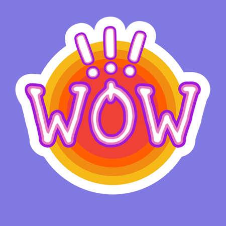 Wow Sticker Social Media Network Message Badges Design Vector Illustration