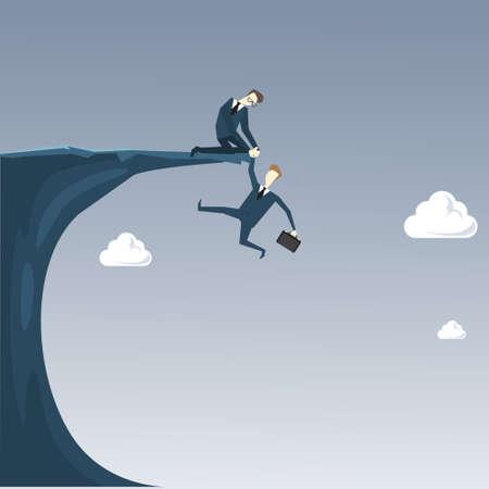 Businessman Holding Hands Hanging Cliff Partner Support Business People Risk Concept Flat Vector Illustration Ilustração