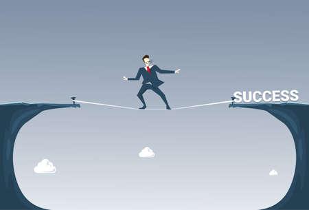 rope bridge: Businessman Walk Over Cliff Gap Mountain To Success Business Man Balancing On Rope Flat Vector Illustration Illustration