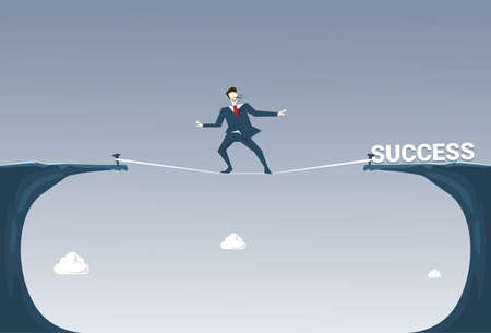 Businessman Walk Over Cliff Gap Mountain To Success Business Man Balancing On Rope Flat Vector Illustration Illustration