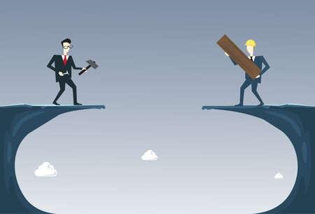 Business People Building Bridge Over Cliff Gap Partner Ondersteuning Ondernemers Samenwerking Concept Vlak Vector Illustratie Vector Illustratie