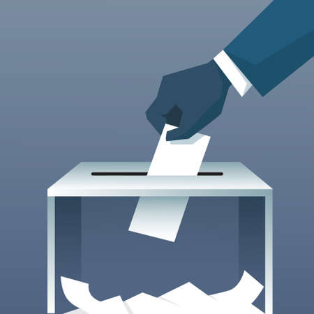 Hand Putting Paper In Ballot Box During Voting Flat Vector Illustration Illustration