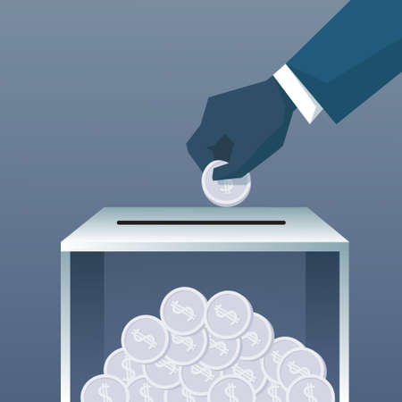 collect: Hand Putting Coin In Donate Box For Charity Contribution Flat Vector Illustration