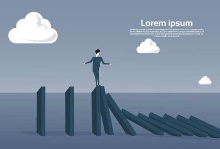 bankrupt: Business Man Standing On Chart Bar Falling Economic Fail Crisis Concept Flat Vector Illustration