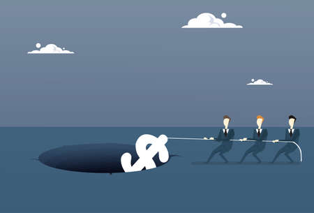 Business People Group Pulling Dollar From Hole Growth After Economic Fail Crisis Concept Flat Vector Illustration Illustration