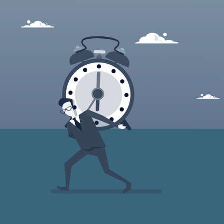 Business Man Holding Clock Time Management Deadline Concept Vector Illustration Illustration