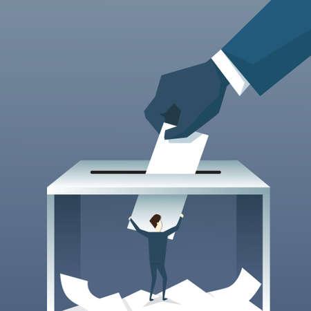 투표하는 동안 투표 용지 상자에 손을 퍼 팅 종이 평면 벡터 일러스트 레이 션