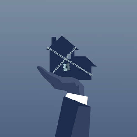 bankrupt: Business Man Hand Holding Chained House Debt Concept Financial Crisis Flat Vector Illustration Illustration