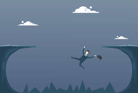 Business Man Falling In Cliff Gap Businessman Fail Bankruptcy Crisis Concept Flat Vector Illustration