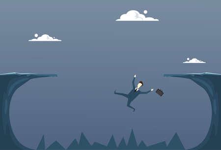 Business Man Falling In Cliff Gap Businessman Fail Bankruptcy Crisis Concept Flat Vector Illustration