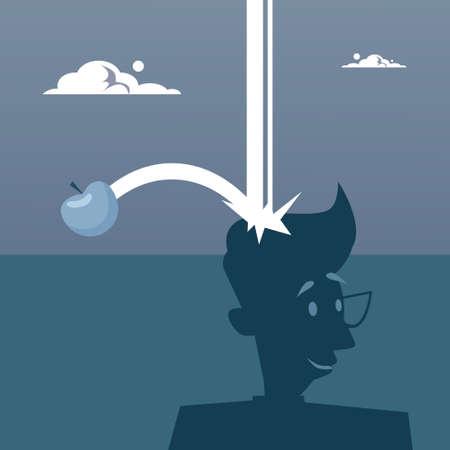 Apple Falling On Big Head New Idea Concept Flat Vector Illustration