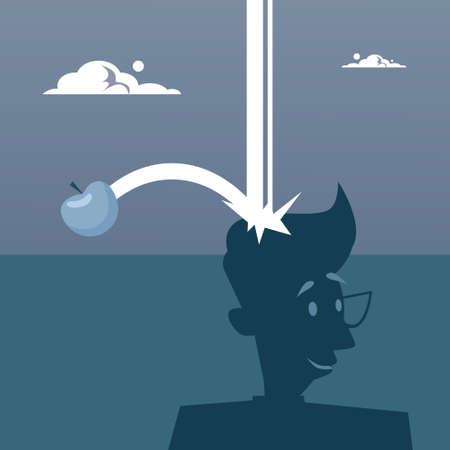 Apple Falling On Big Head New Idea Concept Flat Vector Illustration