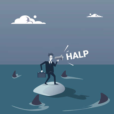 Business Man On Island In Sea Water With Sharks Around Concept Financial Crisis Flat Vector Illustration Illustration