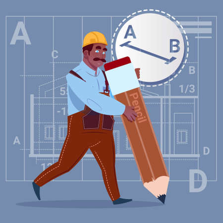 Cartoon African American Builder Hold Big Pencil Creating New Blueprint Architect Wearing Uniform And Helmet Construction Worker Flat Vector Illustration