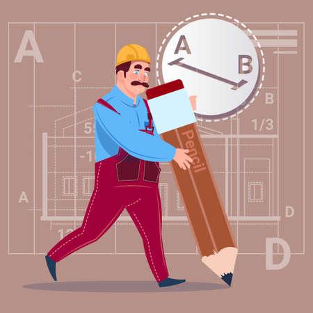 safety belts: Cartoon Builder Hold Big Pencil Creating New Blueprint Architect Wearing Uniform And Helmet Construction Worker Flat Vector Illustration