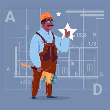 belt up: Cartoon African American Builder Wearing Uniform And Helmet Construction Worker Over Abstract Plan Background Male Workman Flat Vector Illustration