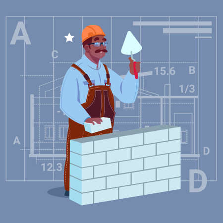 Cartoon African American Builder Laying Brick Wall Hold Spatula Over Abstract Plan Background Male Workman Flat Vector Illustration