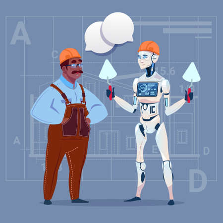 Cartoon African American Builder Working With Robot Holding Spatula Modern Building Technology Concept Flat Vector Illustration Illustration
