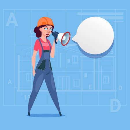 Cartoon Female Builder Holding Megaphone Making Announcement Woman Construction Worker Over Abstract Plan Background Flat Vector Illustration Illustration