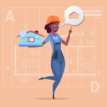 arquitecto caricatura: Dibujos animados, hembra, constructor, tenencia, pequeño, casa, listo, bienes, sobre, Extracto, Plano, Plano de fondo, afroamericano, trabajador, Plano, vector