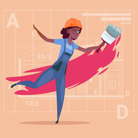 home decorating: Cartoon Female Painter Hold Paint Brush African American Decorator Builder Wearing Uniform And Helmet Flat Vector Illustration