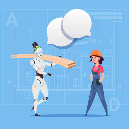 Cartoon Female Builder Working With Robot Carry Planks Modern Building Technology Concept Flat Vector Illustration