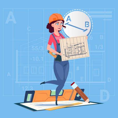 Cartoon Builder Woman Hold Plan Of Building Blueprint Wearing Uniform And Helmet Construction Worker Contractor Flat Vector Illustration Illustration