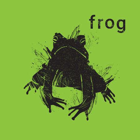 Silhouette Frog In Grunge Design Style Animal Icon Vector Illustration Illustration