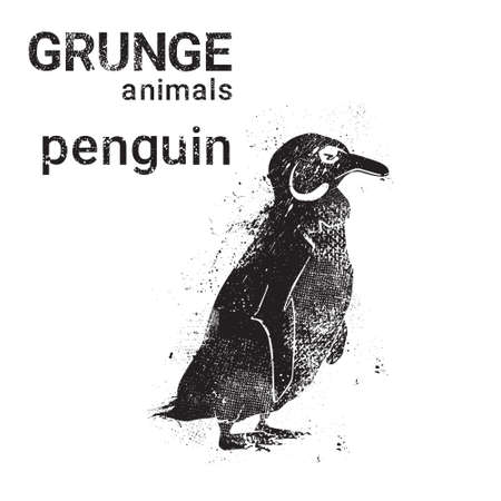 Silhouette Penguin In Grunge Design Style Animal Icon Vector Illustration