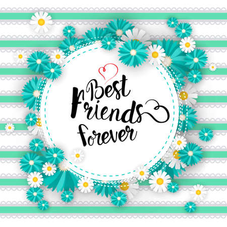 Happy Friendship Day Logo Greeting Card Friends Holiday Banner Flat Vector Illustration