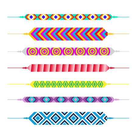 Set Of Friendship Bracelets Happy Friends Day Greeting Card Holiday Banner Flat Vector Illustration
