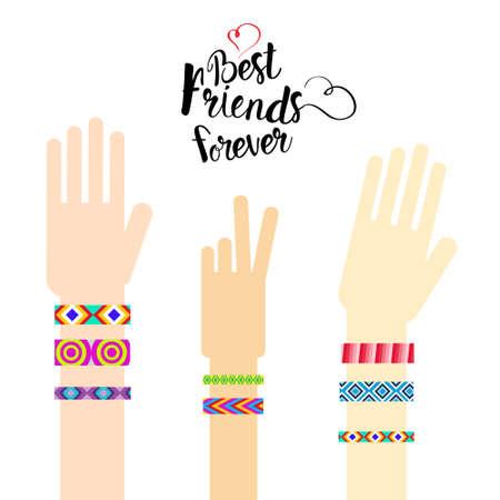 幸せな友人日手友情ブレスレット グリーティング カード休日バナー フラット ベクトル イラスト