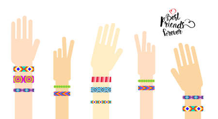 Happy Friends Day Hands With Friendship Bracelets Greeting Card Holiday Banner Flat Vector Illustration Illustration